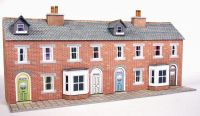 PN174 LOW RELIEF RED BRICK TERRACED HOUSE FRONTS