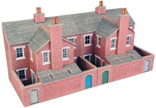 PO276 LOW RELIEF RED BRICK TERRACED HOUSE BACKS